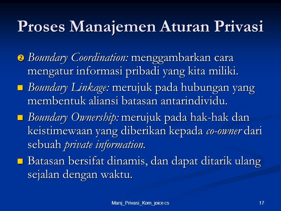 17Manj_Privasi_Kom_joice cs Proses Manajemen Aturan Privasi  Boundary Coordination: menggambarkan cara mengatur informasi pribadi yang kita miliki. B