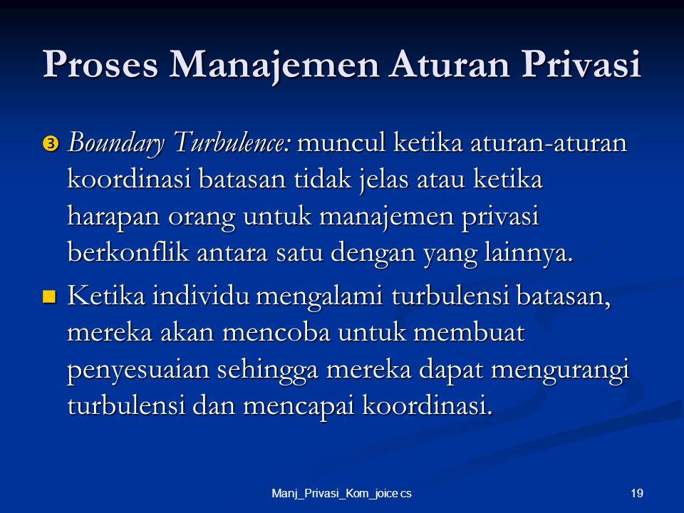 19Manj_Privasi_Kom_joice cs Proses Manajemen Aturan Privasi  Boundary Turbulence: muncul ketika aturan-aturan koordinasi batasan tidak jelas atau ket