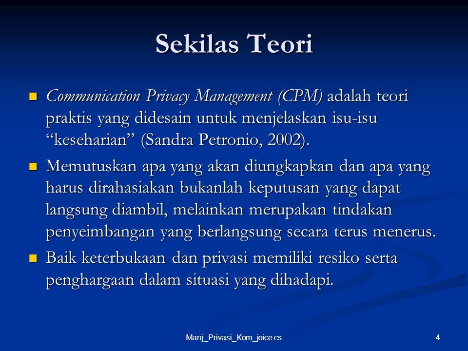 """4Manj_Privasi_Kom_joice cs Sekilas Teori Communication Privacy Management (CPM) adalah teori praktis yang didesain untuk menjelaskan isu-isu """"kesehari"""