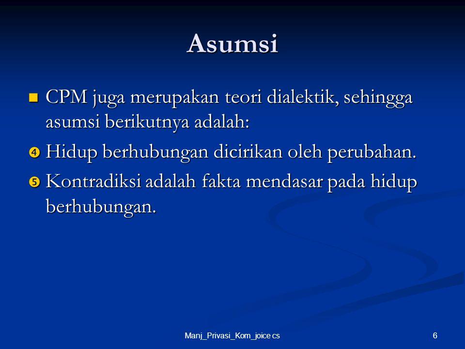 6Manj_Privasi_Kom_joice cs Asumsi CPM juga merupakan teori dialektik, sehingga asumsi berikutnya adalah: CPM juga merupakan teori dialektik, sehingga
