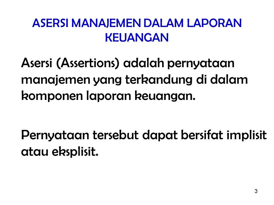 3 ASERSI MANAJEMEN DALAM LAPORAN KEUANGAN Asersi (Assertions) adalah pernyataan manajemen yang terkandung di dalam komponen laporan keuangan. Pernyata