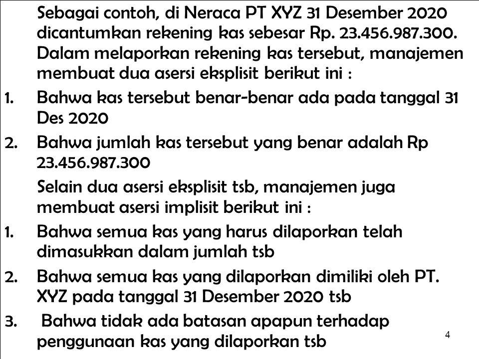 4 Sebagai contoh, di Neraca PT XYZ 31 Desember 2020 dicantumkan rekening kas sebesar Rp. 23.456.987.300. Dalam melaporkan rekening kas tersebut, manaj