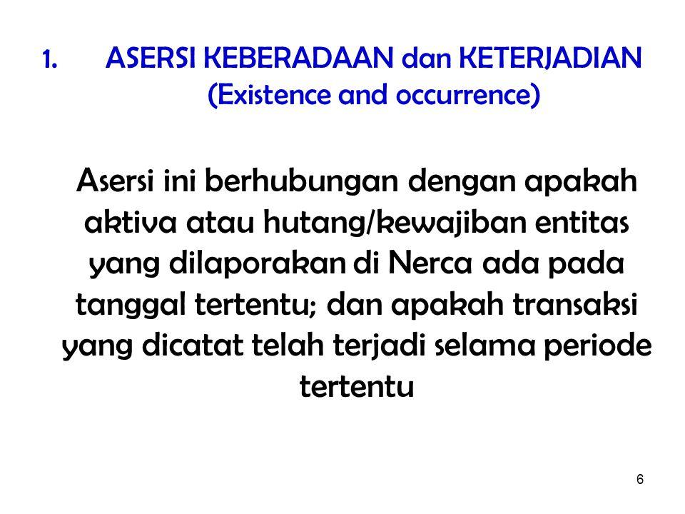 6 1.ASERSI KEBERADAAN dan KETERJADIAN (Existence and occurrence) Asersi ini berhubungan dengan apakah aktiva atau hutang/kewajiban entitas yang dilaporakan di Nerca ada pada tanggal tertentu; dan apakah transaksi yang dicatat telah terjadi selama periode tertentu
