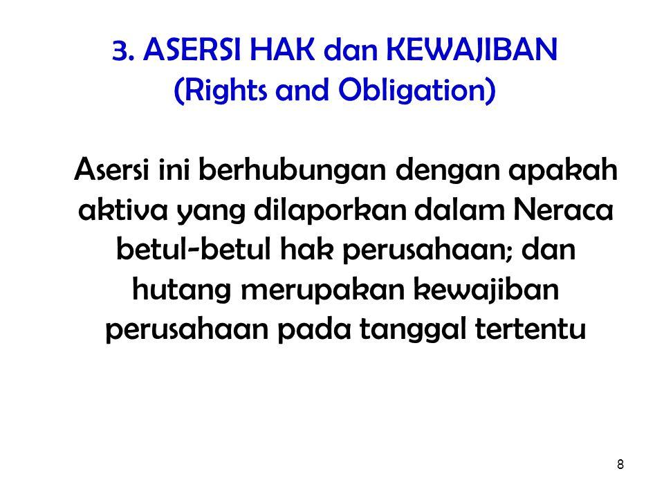 8 3. ASERSI HAK dan KEWAJIBAN (Rights and Obligation) Asersi ini berhubungan dengan apakah aktiva yang dilaporkan dalam Neraca betul-betul hak perusah