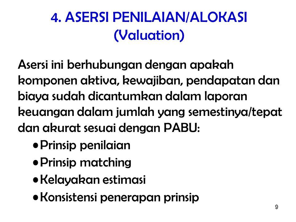 9 4. ASERSI PENILAIAN/ALOKASI (Valuation) Asersi ini berhubungan dengan apakah komponen aktiva, kewajiban, pendapatan dan biaya sudah dicantumkan dala