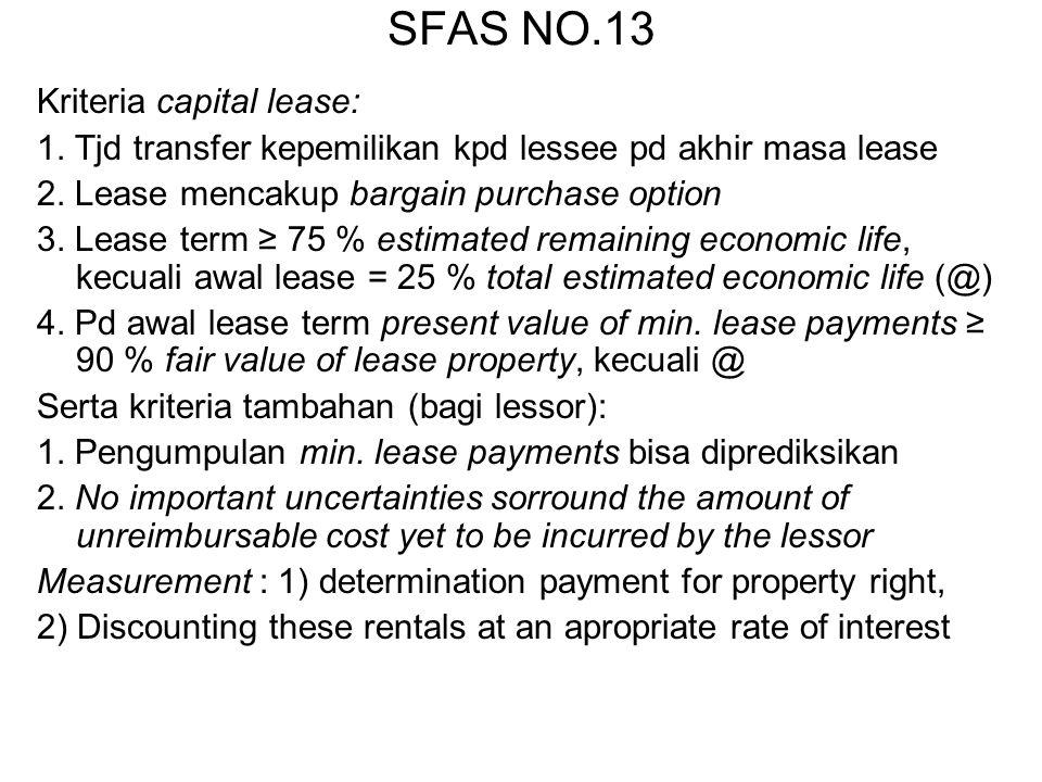 SFAS NO.13 Kriteria capital lease: 1. Tjd transfer kepemilikan kpd lessee pd akhir masa lease 2. Lease mencakup bargain purchase option 3. Lease term
