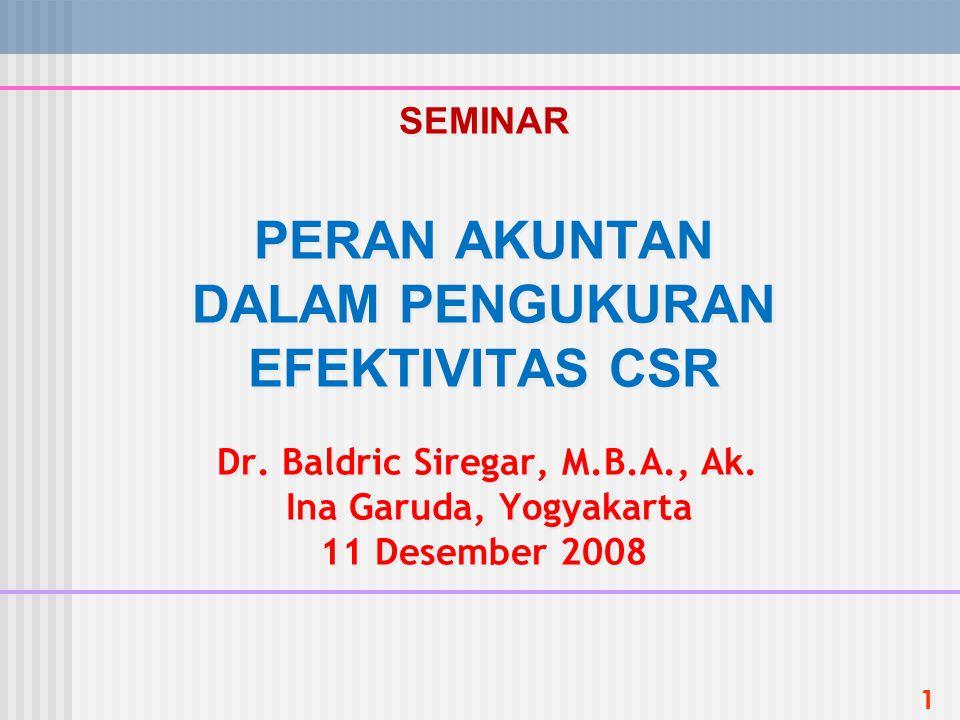1 SEMINAR PERAN AKUNTAN DALAM PENGUKURAN EFEKTIVITAS CSR Dr. Baldric Siregar, M.B.A., Ak. Ina Garuda, Yogyakarta 11 Desember 2008
