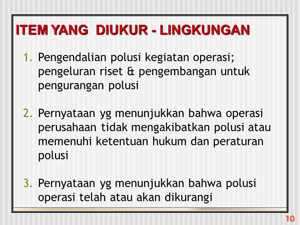 10 ITEM YANG DIUKUR - LINGKUNGAN 1.Pengendalian polusi kegiatan operasi; pengeluran riset & pengembangan untuk pengurangan polusi 2.Pernyataan yg menu