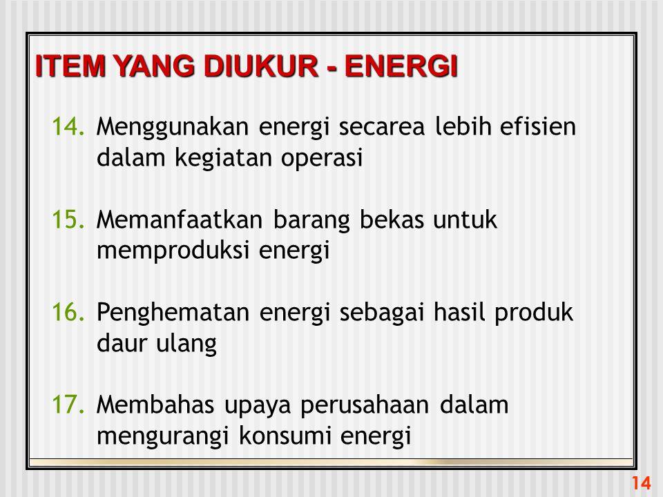 14 ITEM YANG DIUKUR - ENERGI 14.Menggunakan energi secarea lebih efisien dalam kegiatan operasi 15.Memanfaatkan barang bekas untuk memproduksi energi