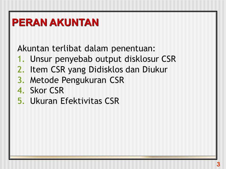 3 PERAN AKUNTAN Akuntan terlibat dalam penentuan: 1.Unsur penyebab output disklosur CSR 2.Item CSR yang Didisklos dan Diukur 3.Metode Pengukuran CSR 4