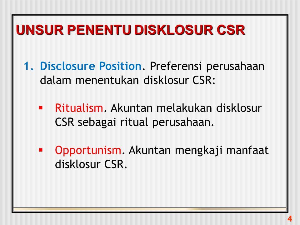 4 UNSUR PENENTU DISKLOSUR CSR 1.Disclosure Position. Preferensi perusahaan dalam menentukan disklosur CSR:  Ritualism. Akuntan melakukan disklosur CS