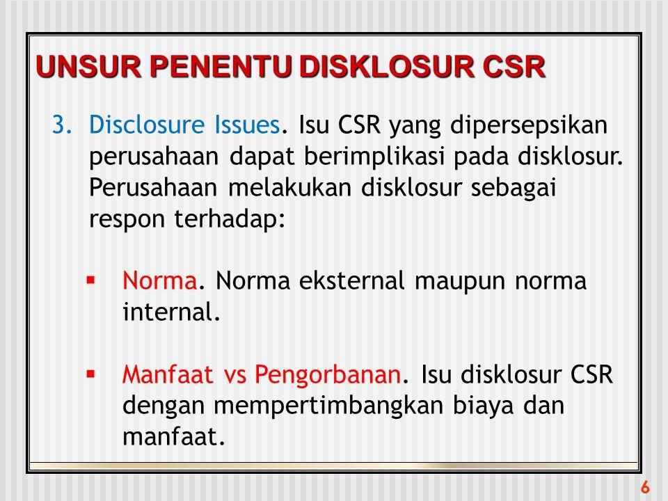 6 UNSUR PENENTU DISKLOSUR CSR 3.Disclosure Issues. Isu CSR yang dipersepsikan perusahaan dapat berimplikasi pada disklosur. Perusahaan melakukan diskl