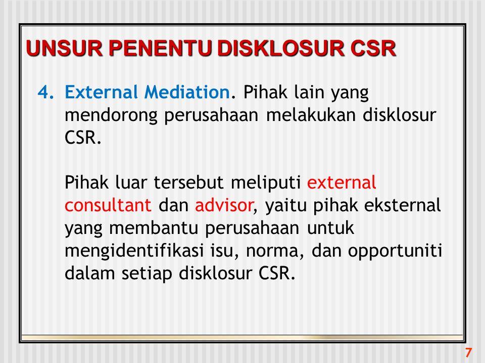 7 UNSUR PENENTU DISKLOSUR CSR 4.External Mediation. Pihak lain yang mendorong perusahaan melakukan disklosur CSR. Pihak luar tersebut meliputi externa
