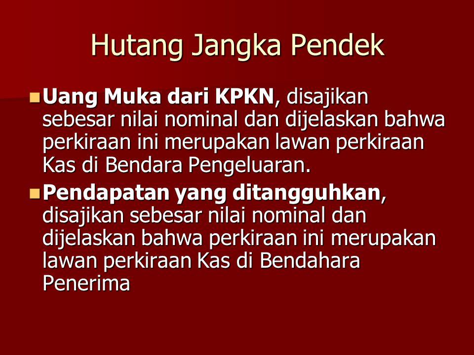 Hutang Jangka Pendek Uang Muka dari KPKN, disajikan sebesar nilai nominal dan dijelaskan bahwa perkiraan ini merupakan lawan perkiraan Kas di Bendara
