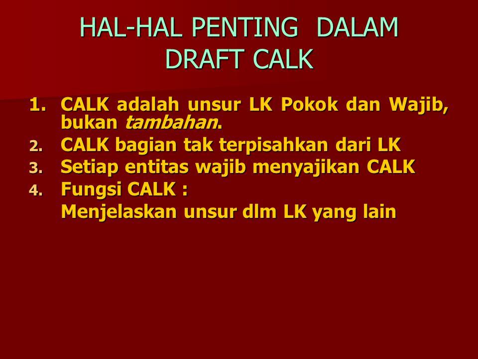 HAL-HAL PENTING DALAM DRAFT CALK 1.CALK adalah unsur LK Pokok dan Wajib, bukan tambahan. 1.CALK adalah unsur LK Pokok dan Wajib, bukan tambahan. 2. CA