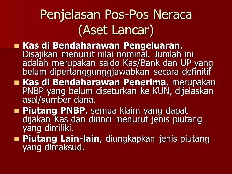 Penjelasan Pos-Pos Neraca (Aset Lancar) Kas di Bendaharawan Pengeluaran, Disajikan menurut nilai nominal. Jumlah ini adalah merupakan saldo Kas/Bank d