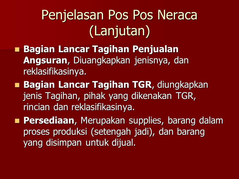 Penjelasan Pos Pos Neraca (Lanjutan) Bagian Lancar Tagihan Penjualan Angsuran, Diuangkapkan jenisnya, dan reklasifikasinya. Bagian Lancar Tagihan Penj