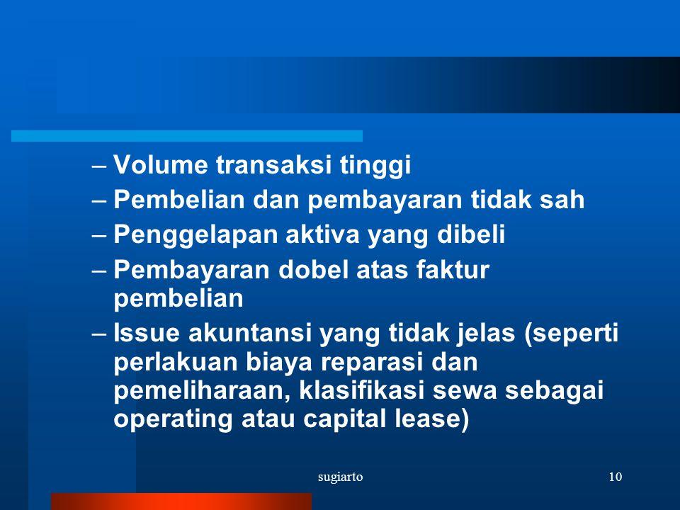 sugiarto10 –Volume transaksi tinggi –Pembelian dan pembayaran tidak sah –Penggelapan aktiva yang dibeli –Pembayaran dobel atas faktur pembelian –Issue
