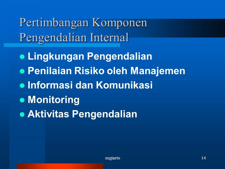 sugiarto14 Pertimbangan Komponen Pengendalian Internal Lingkungan Pengendalian Penilaian Risiko oleh Manajemen Informasi dan Komunikasi Monitoring Akt