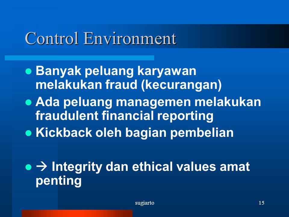 sugiarto15 Control Environment Banyak peluang karyawan melakukan fraud (kecurangan) Ada peluang managemen melakukan fraudulent financial reporting Kic