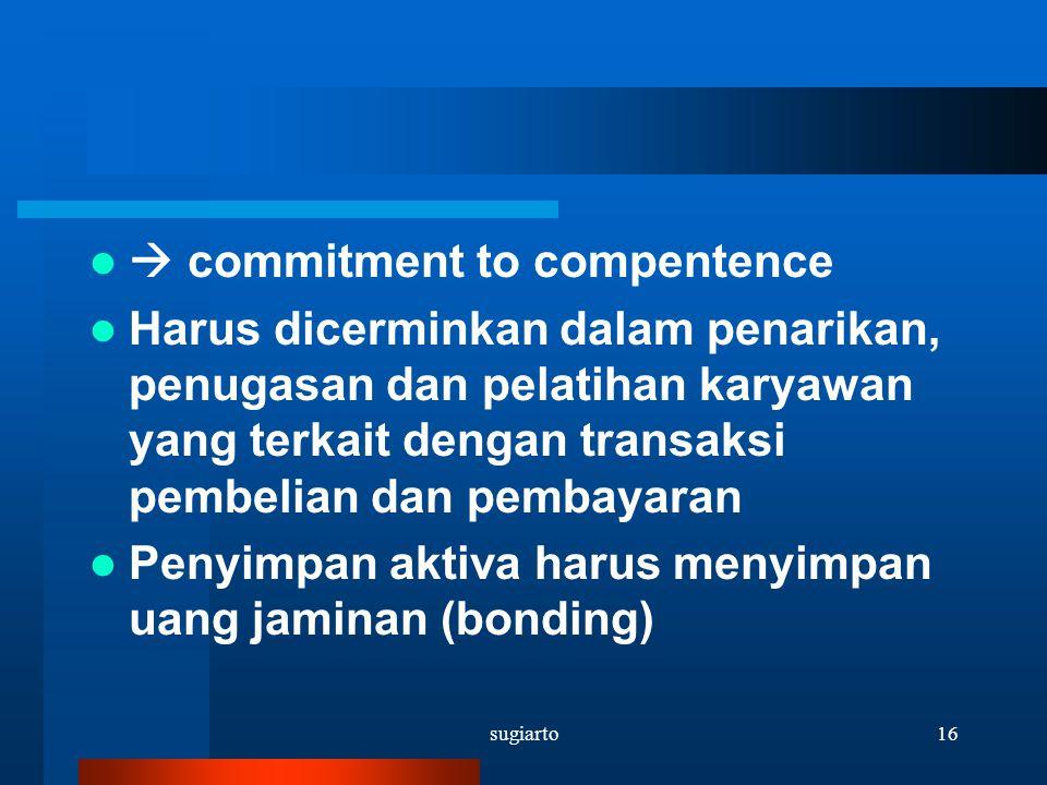 sugiarto16  commitment to compentence Harus dicerminkan dalam penarikan, penugasan dan pelatihan karyawan yang terkait dengan transaksi pembelian dan