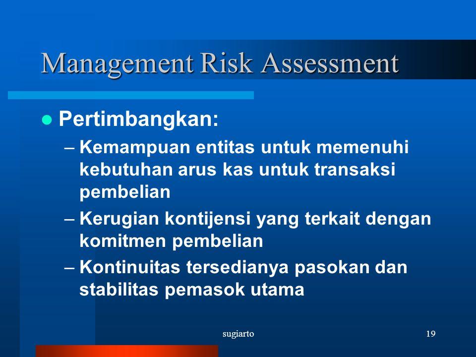 sugiarto19 Management Risk Assessment Pertimbangkan: –Kemampuan entitas untuk memenuhi kebutuhan arus kas untuk transaksi pembelian –Kerugian kontijen