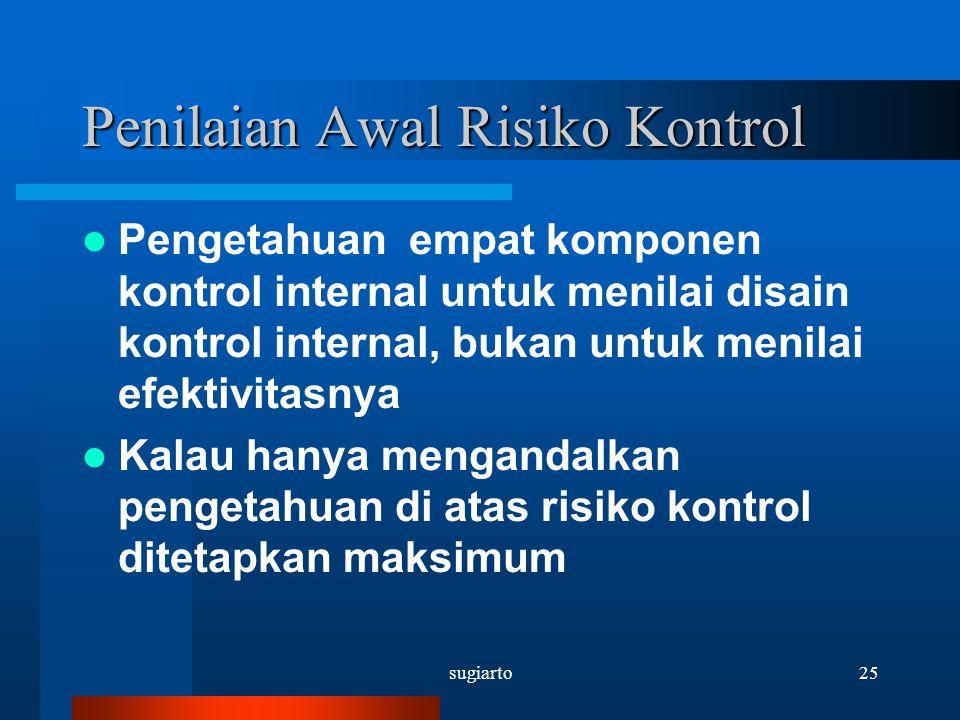 sugiarto25 Penilaian Awal Risiko Kontrol Pengetahuan empat komponen kontrol internal untuk menilai disain kontrol internal, bukan untuk menilai efekti