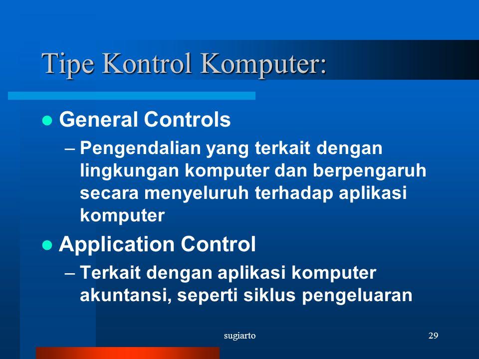 sugiarto29 Tipe Kontrol Komputer: General Controls –Pengendalian yang terkait dengan lingkungan komputer dan berpengaruh secara menyeluruh terhadap ap