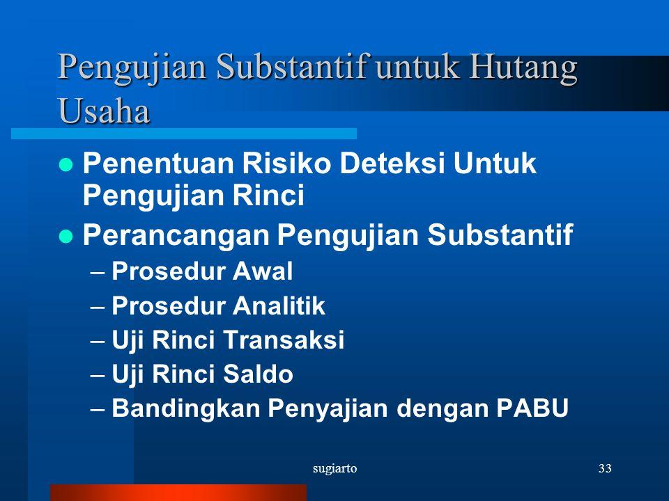 sugiarto33 Pengujian Substantif untuk Hutang Usaha Penentuan Risiko Deteksi Untuk Pengujian Rinci Perancangan Pengujian Substantif –Prosedur Awal –Pro