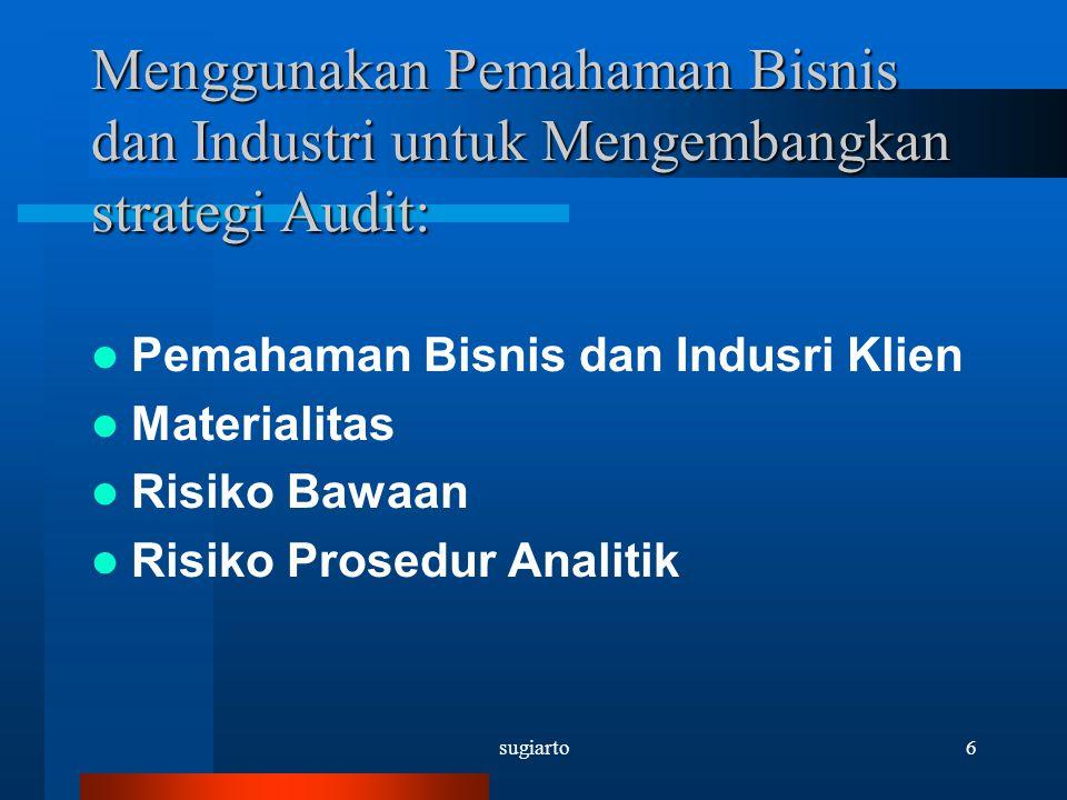 sugiarto6 Menggunakan Pemahaman Bisnis dan Industri untuk Mengembangkan strategi Audit: Pemahaman Bisnis dan Indusri Klien Materialitas Risiko Bawaan