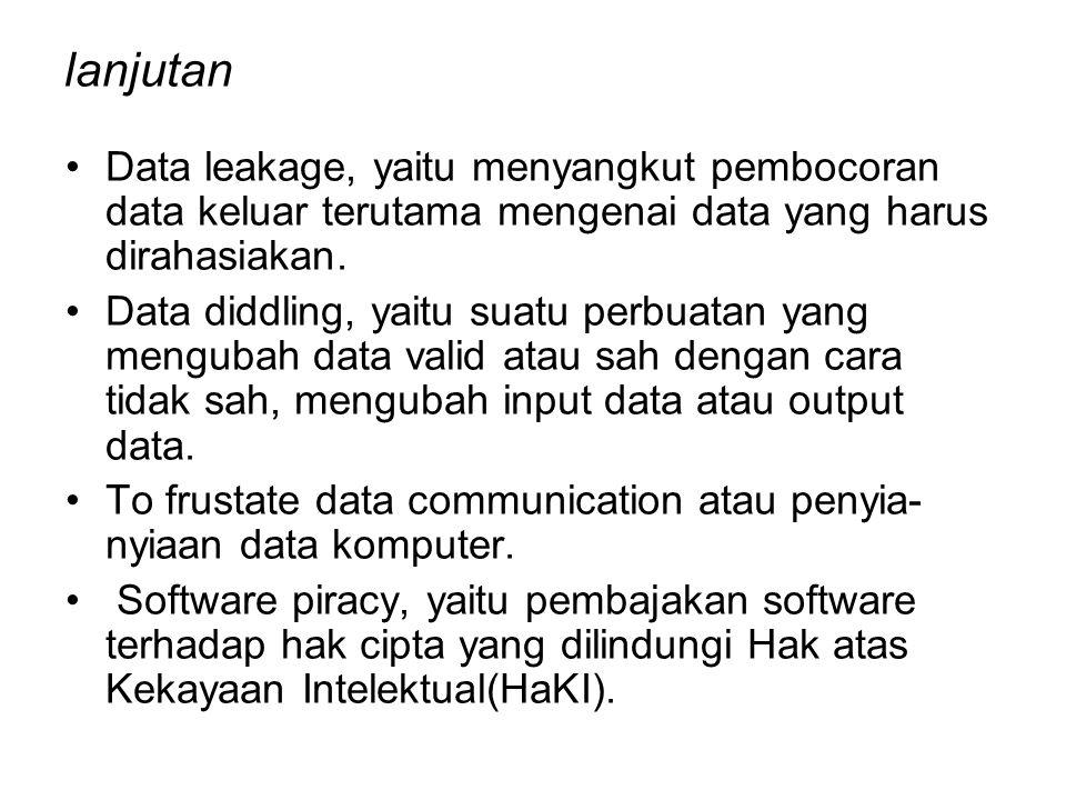 lanjutan Data leakage, yaitu menyangkut pembocoran data keluar terutama mengenai data yang harus dirahasiakan. Data diddling, yaitu suatu perbuatan ya