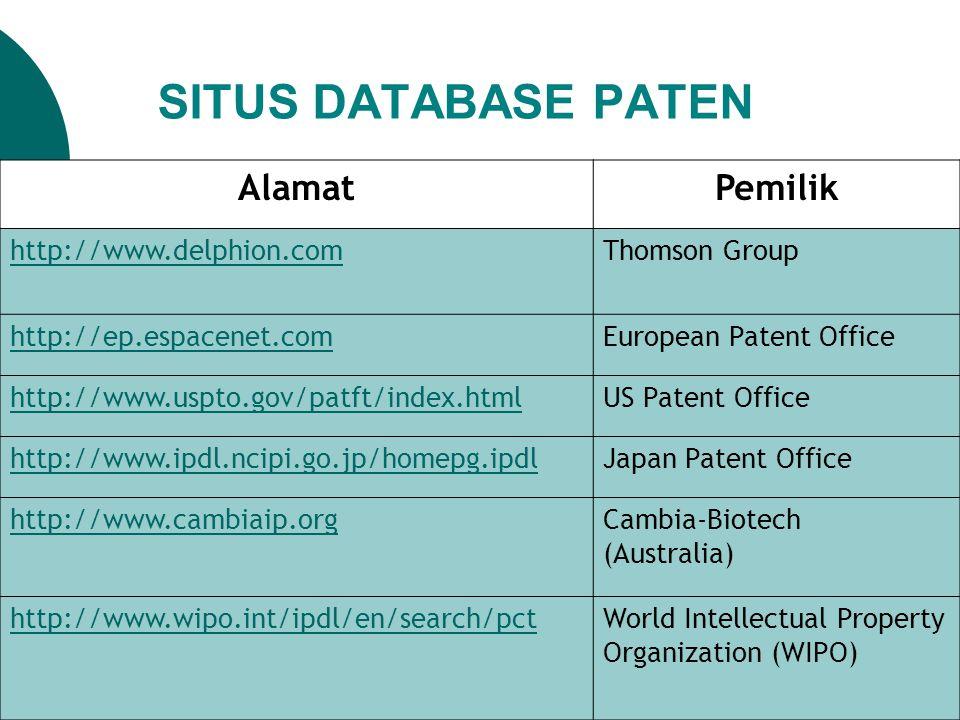 SITUS DATABASE PATEN AlamatPemilik http://www.delphion.com Thomson Group http://ep.espacenet.comEuropean Patent Office http://www.uspto.gov/patft/inde
