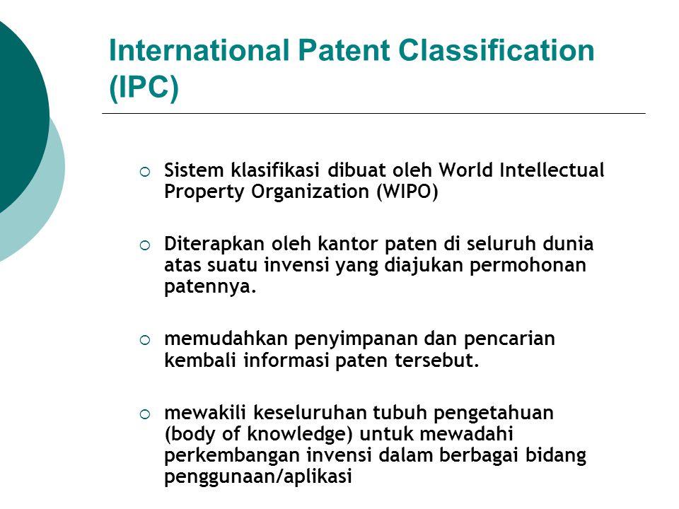International Patent Classification (IPC)  Sistem klasifikasi dibuat oleh World Intellectual Property Organization (WIPO)  Diterapkan oleh kantor pa