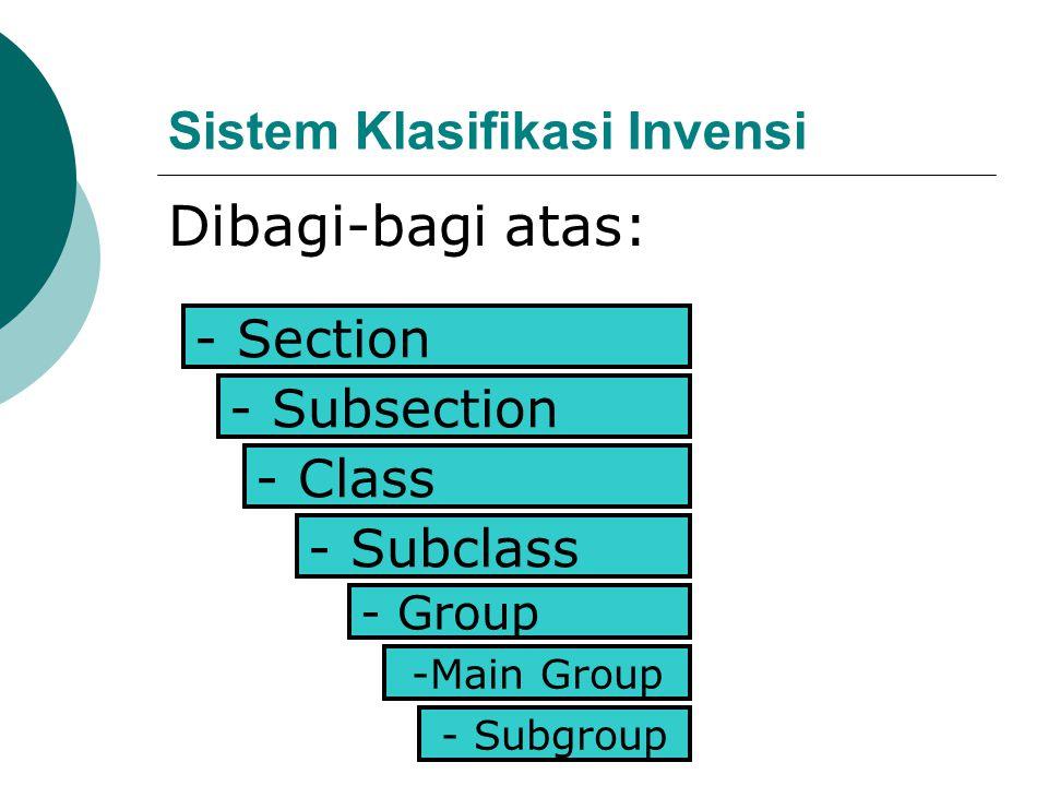 - Group - Subgroup -Main Group - Subclass - Class - Subsection - Section Sistem Klasifikasi Invensi Dibagi-bagi atas: