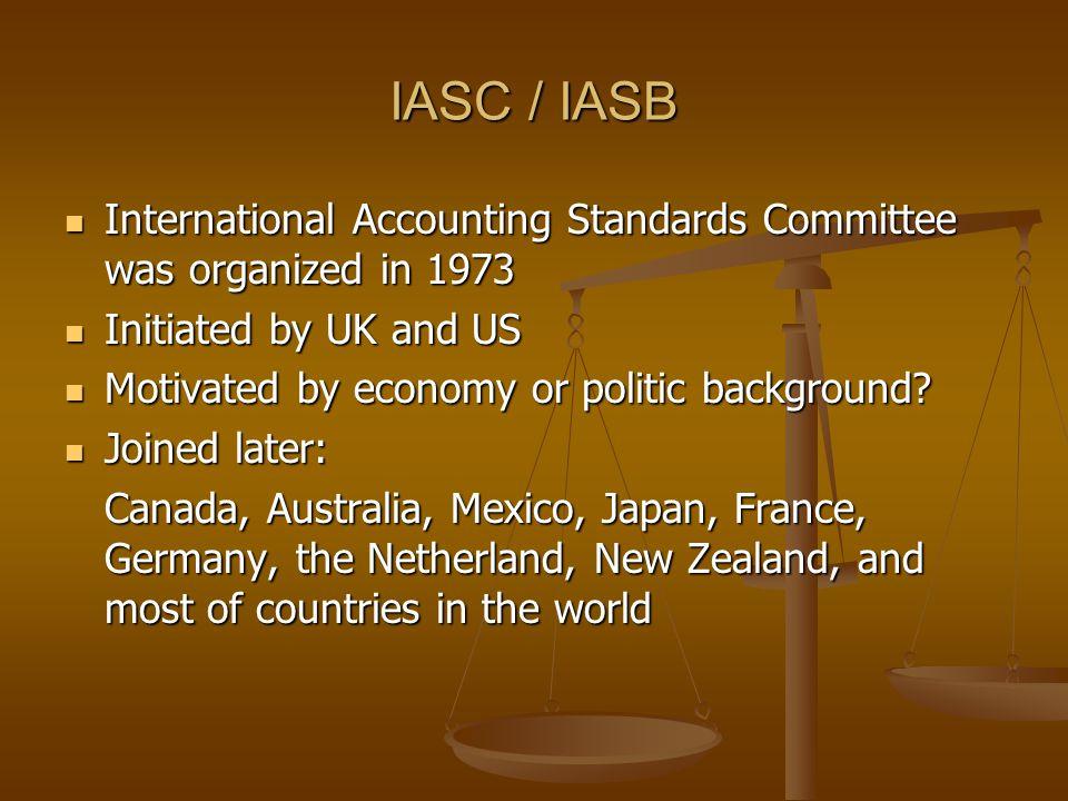 IASC / IASB International Accounting Standards Committee was organized in 1973 International Accounting Standards Committee was organized in 1973 Init
