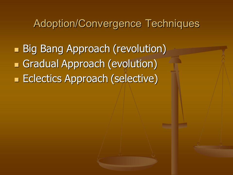 Adoption/Convergence Techniques Big Bang Approach (revolution) Big Bang Approach (revolution) Gradual Approach (evolution) Gradual Approach (evolution