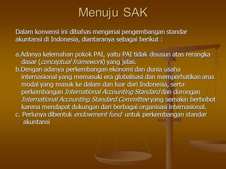 Menuju SAK Dalam konvensi ini dibahas mengenai pengembangan standar akuntansi di Indonesia, diantaranya sebagai berikut : a.Adanya kelemahan pokok PAI