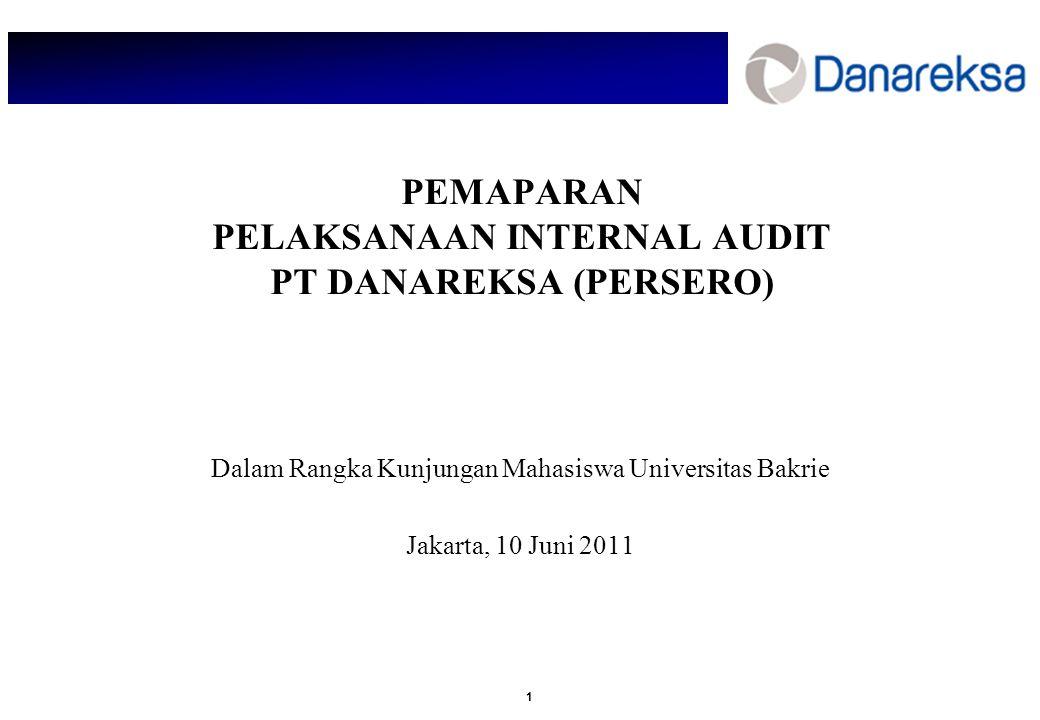 1 PEMAPARAN PELAKSANAAN INTERNAL AUDIT PT DANAREKSA (PERSERO) Dalam Rangka Kunjungan Mahasiswa Universitas Bakrie Jakarta, 10 Juni 2011