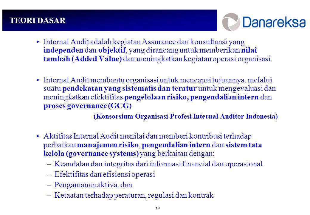 19 TEORI DASAR Internal Audit adalah kegiatan Assurance dan konsultansi yang independen dan objektif, yang dirancang untuk memberikan nilai tambah (Added Value) dan meningkatkan kegiatan operasi organisasi.