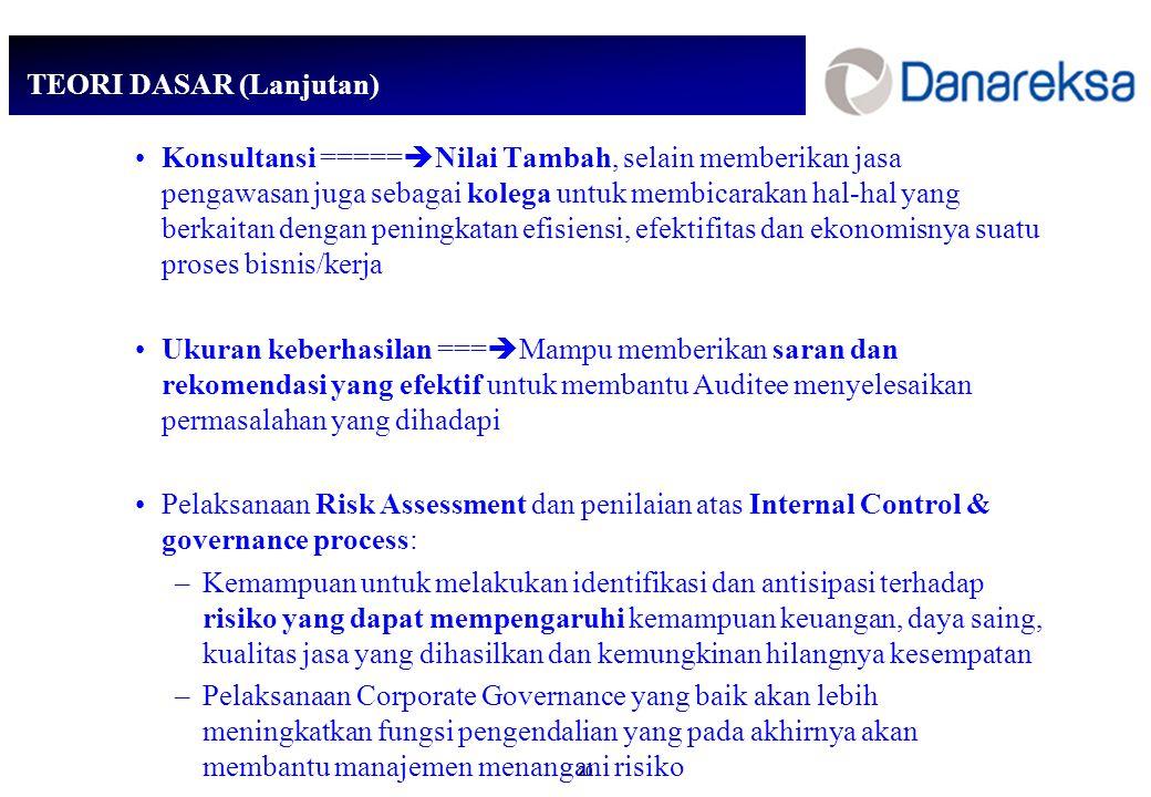 20 TEORI DASAR (Lanjutan) Konsultansi =====  Nilai Tambah, selain memberikan jasa pengawasan juga sebagai kolega untuk membicarakan hal-hal yang berkaitan dengan peningkatan efisiensi, efektifitas dan ekonomisnya suatu proses bisnis/kerja Ukuran keberhasilan ===  Mampu memberikan saran dan rekomendasi yang efektif untuk membantu Auditee menyelesaikan permasalahan yang dihadapi Pelaksanaan Risk Assessment dan penilaian atas Internal Control & governance process: –Kemampuan untuk melakukan identifikasi dan antisipasi terhadap risiko yang dapat mempengaruhi kemampuan keuangan, daya saing, kualitas jasa yang dihasilkan dan kemungkinan hilangnya kesempatan –Pelaksanaan Corporate Governance yang baik akan lebih meningkatkan fungsi pengendalian yang pada akhirnya akan membantu manajemen menangani risiko