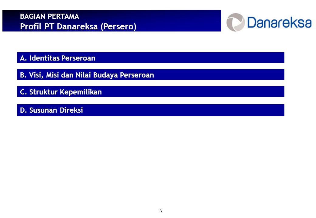 3 BAGIAN PERTAMA Profil PT Danareksa (Persero) A.Identitas Perseroan B.