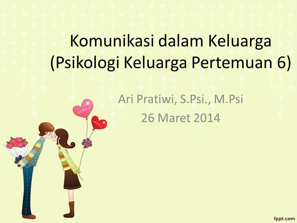 Komunikasi dalam Keluarga (Psikologi Keluarga Pertemuan 6) Ari Pratiwi, S.Psi., M.Psi 26 Maret 2014