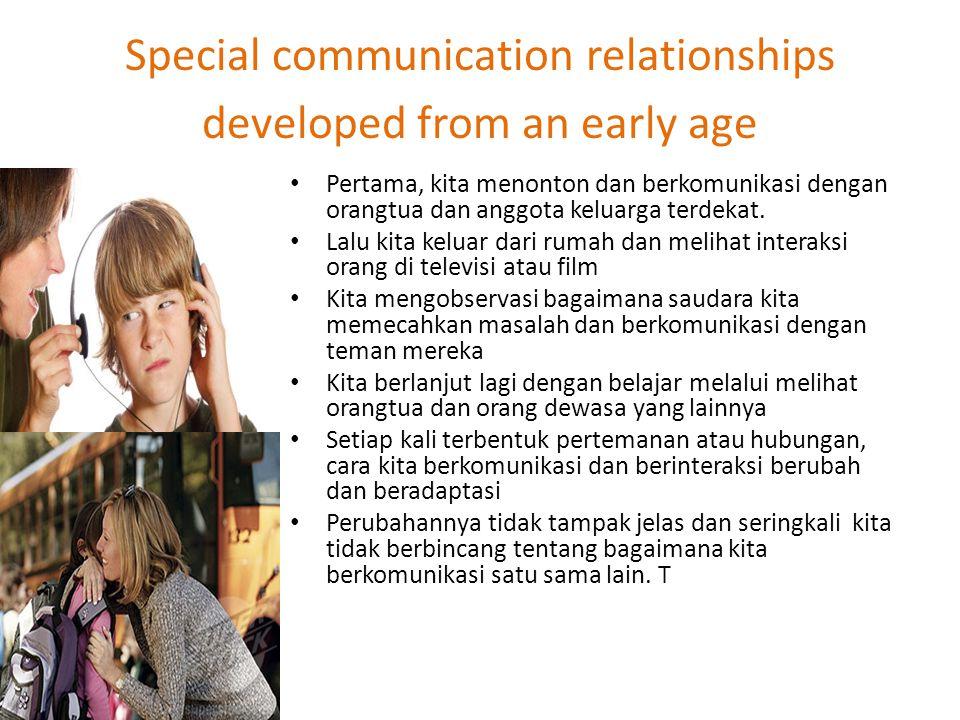 Special communication relationships developed from an early age Pertama, kita menonton dan berkomunikasi dengan orangtua dan anggota keluarga terdekat.