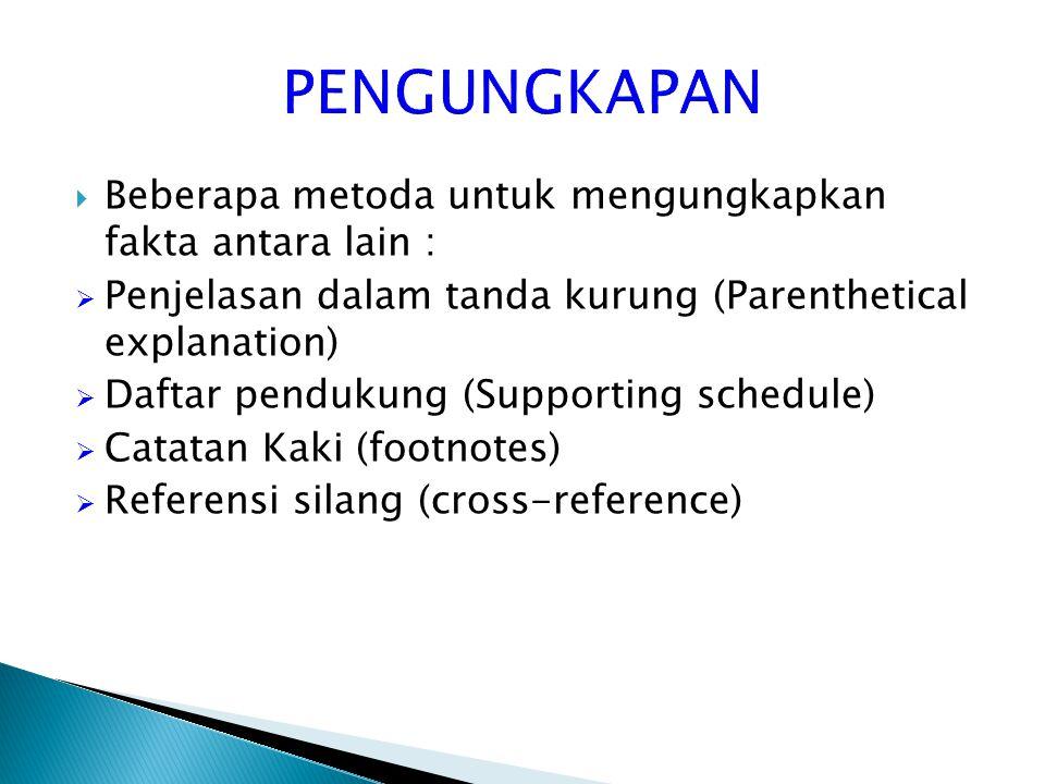  Beberapa metoda untuk mengungkapkan fakta antara lain :  Penjelasan dalam tanda kurung (Parenthetical explanation)  Daftar pendukung (Supporting s