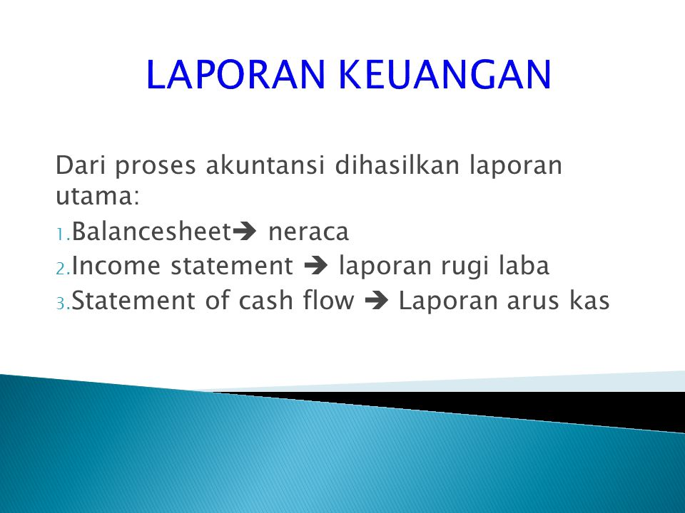 LAPORAN KEUANGAN Dari proses akuntansi dihasilkan laporan utama: 1. Balancesheet  neraca 2. Income statement  laporan rugi laba 3. Statement of cash