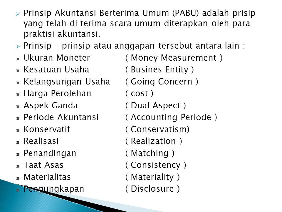  Prinsip Akuntansi Berterima Umum (PABU) adalah prisip yang telah di terima scara umum diterapkan oleh para praktisi akuntansi.  Prinsip – prinsip a