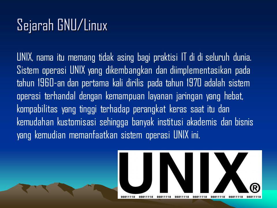 Sejarah GNU/Linux Kembali ke pengembangan GNU Project, sebagian besar aplikasi tambahan yang diperlukan oleh sebuah sistem operasi (seperti : library, GCC compiler, EMACS text editor, shell/console dan window system) terselesaikan pada tahun 1990-an.