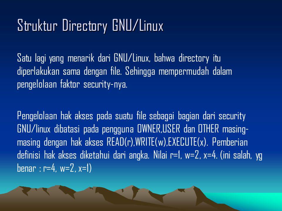 Struktur Directory GNU/Linux Satu lagi yang menarik dari GNU/Linux, bahwa directory itu diperlakukan sama dengan file.
