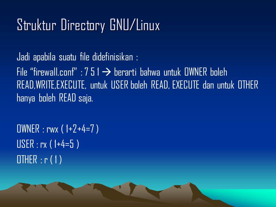 Struktur Directory GNU/Linux Jadi apabila suatu file didefinisikan : File firewall.conf : 7 5 1  berarti bahwa untuk OWNER boleh READ,WRITE,EXECUTE, untuk USER boleh READ, EXECUTE dan untuk OTHER hanya boleh READ saja.