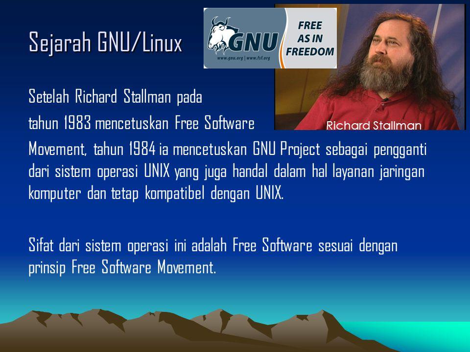 Sejarah GNU/Linux Pada tahun 1991, Linus Torvalds yang saat itu masih sebagai Mahasiswa S2 di Universitas Helsinki membuat sistem operasi versi non-komersial pengganti MINIX yang kemudian dinamakan LINUX Sistem operasi buatan Linus Torvalds lah yang kemudian akan menjadi KERNEL LINUX Linus Torvalds